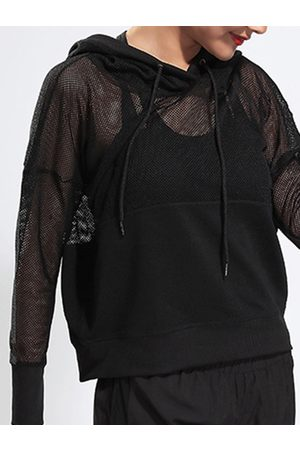 YOINS Active Cut Out Net Yarn Long Sleeve Tops in
