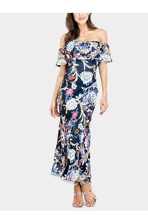 YOINS Off Shoulder Random Floral Fishtail Tiered Maxi Dress