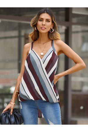 YOINS Burgundy Wrap Design Striped Halter Sleeveless Cami