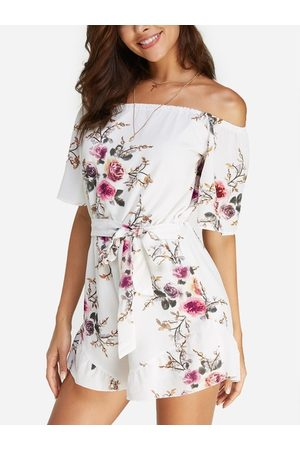 YOINS Sexy Off Shoulder Random Floral Print Playsuit