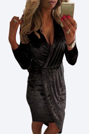 YOINS Sexy Velvet V-neck Cross design Slit Hem Midi Dress