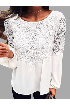 YOINS Lace Details Round Neck Long Sleeves Chiffon Top