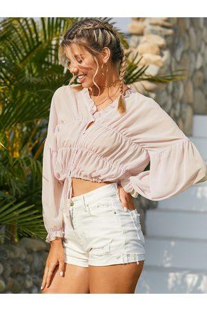 YOINS Drawstring Ruffle Trim Button Design V-neck Long Sleeves Blouse