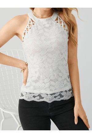 YOINS Women Halterneck Tops - Lace Hollow Design Halter Sleeveless Cami