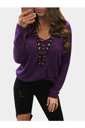 YOINS Women Long Sleeve - Sexy Deep V-neck Lace-up Front Casual T-shirts in