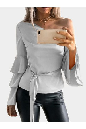 YOINS One Shoulder Ruffle Bell Sleeves Blouse with Belt