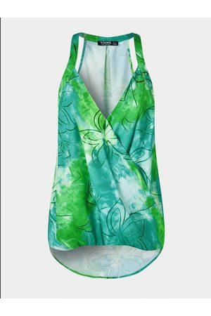 YOINS Women Halterneck Tops - Tie Dye Halter V-neck Sleeveless Wrap Cami