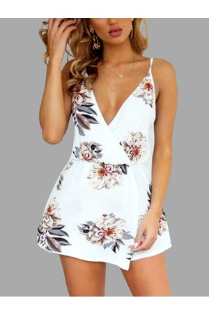 YOINS Random Floral Print V-neck Cross Front Playsuits