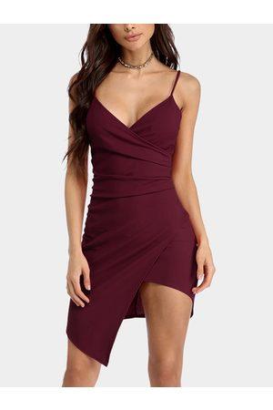 YOINS Sexy Deep V neck Midi Dress With Irregular Wrap Hem