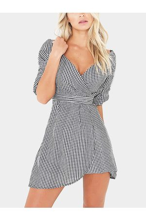 YOINS Grid Pattern V-neck Self-tie Design Wrap Dress