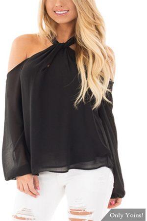 YOINS Zipper Design Halter Neck Long Sleeves Blouse
