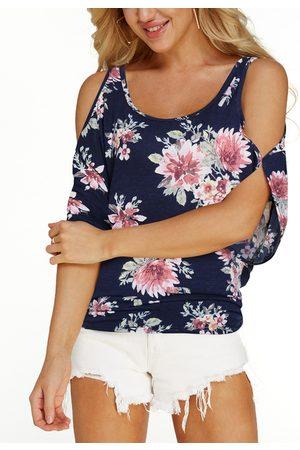YOINS Women Short Sleeve - Navy Random Floral Print Cold Shoulder Tie-up at Back Causal Tee