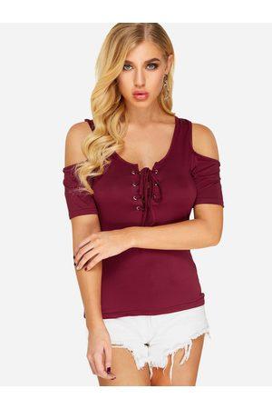 YOINS Women T-shirts - Cold Shoulder Lace-up T-shirt