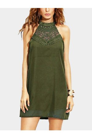YOINS Women Halterneck Dresses - Armygreen Halter Hollow Out Mini Length Dress