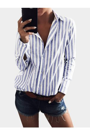 YOINS Light Stripe Shirt With Irregular Hem