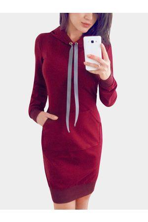 YOINS Women Sweatshirts - Hooded Front Patch Pocket Sweatshirt Dresses