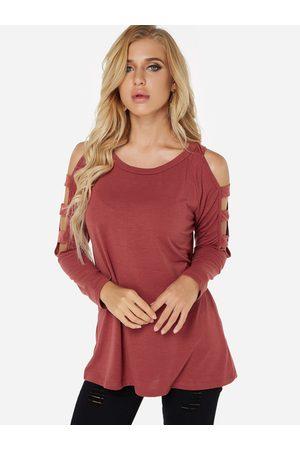 YOINS Hollow Design Cold Shoulder Long Sleeves T-shirts