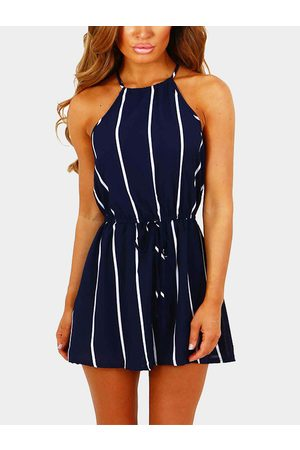 YOINS Navy Stripe Halter Sleeveless Playsuit