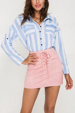 YOINS Striped Pattern Classic Collar Single Button Shirts