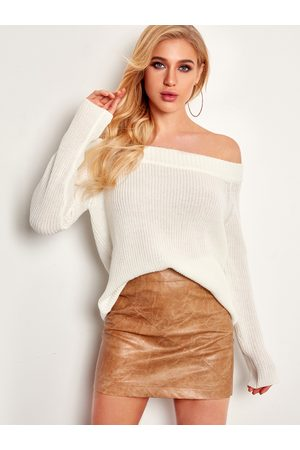 YOINS Plain Off The Shoulder Long Sleeves Sweaters