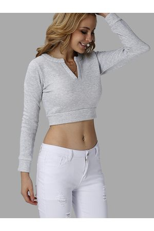 YOINS Fashion V-neck Long Sleeves Crop Top