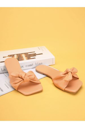 YOINS Bowknot Flat Square Toe Slippers