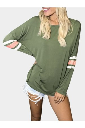 YOINS Army Stripe Pattern Round Neck Long Sleeves T-shirt