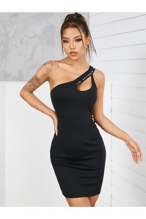 YOINS Asymmetrical Neck Cut out Sleeveless Mini Dress