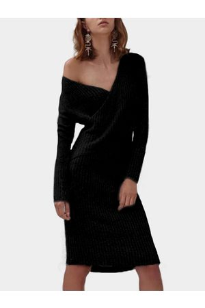 YOINS Crossed Front Design V-neck Long Sleeves Sweaters Dress