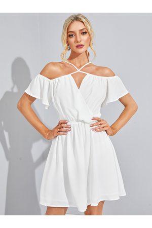 YOINS Adjustable Neck Strap Halter Bell Sleeves Stretch Waistband Dress