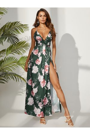 YOINS Green Backless Design Floral Print Deep V Neck Sleeveless Dress