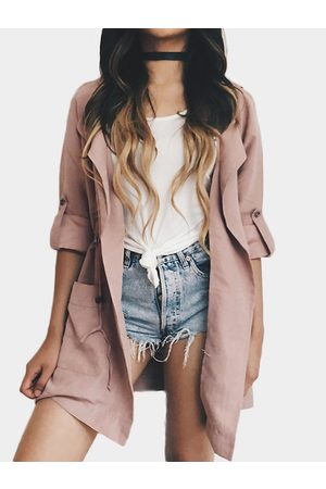 YOINS Dusty Suede Lapel Collar Trench Coat