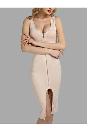 YOINS Apricot Fashion Round Neck Zip Front Bodycon Cami Dress