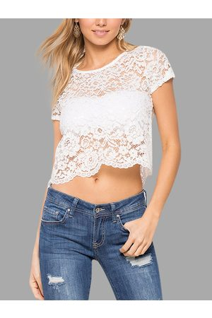 YOINS Lace See Through Short Sleeves Cropped Top