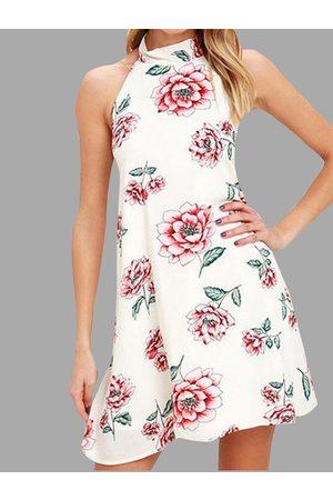 YOINS Halter Neck Random Floral Print Dress