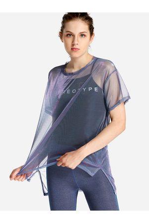 YOINS Light Fishnet Letter Round Neck Short Sleeves 2-piece Tops
