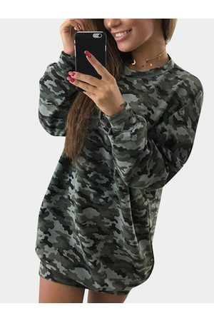 YOINS Camouflage Pattern Crew Neck Long Sleeves Bodycon Hem Mini Dress