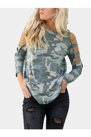 YOINS Camouflage Cut Out Details Cold Shoulder Long Sleeves Tee