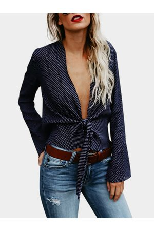 YOINS Wave Point Deep V Neck Long Sleeves Blouse