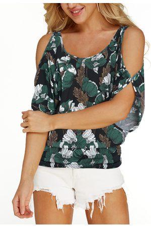 YOINS Navy Random Floral Print Cold Shoulder Tie-up at Back Causal T-shirt