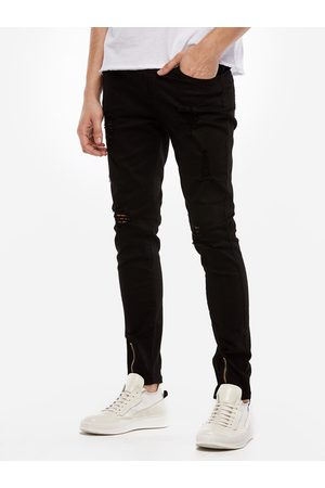 YOINS Men Ripped Details Zipper Design Skinny Jeans