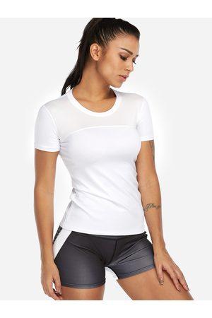 YOINS Plain Crew Neck Short Sleeves Gym Tops