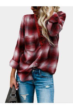 YOINS Red Lace-up Front Design Grid Pattern Deep V-Neck Blouses