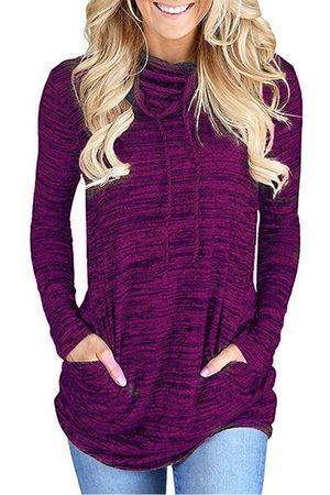 YOINS Purple Chimney Collar Long Sleeves Pocket Design T-shirt