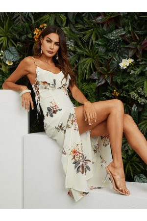 YOINS Tied Up Side Random Floral Print Maxi Dress in