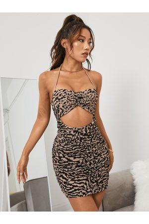 YOINS Leopard Sexy Cut Out Ruched Halter Sleeveless Mini Dress