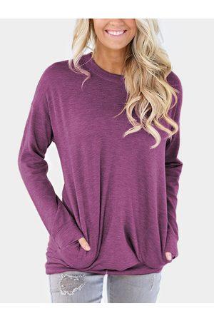 YOINS Women Long Sleeve - Side Pockets Long Sleeves Loose T-shirt