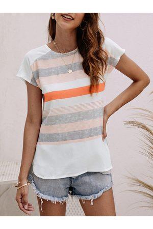 YOINS Casual Orange Stripe Pattern Stitching Blouse