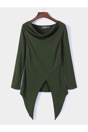 YOINS Army Green Round Neck Long Sleeves Top With Irregular Hem