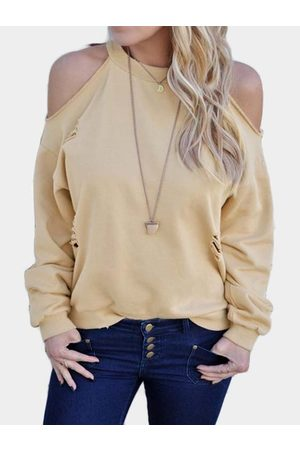 YOINS Cut Out Cold Shoulder Long Sleeves T-shirt